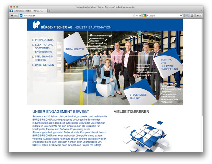 Website Bürge-Fischer AG, Industrieautomation, Safenwil