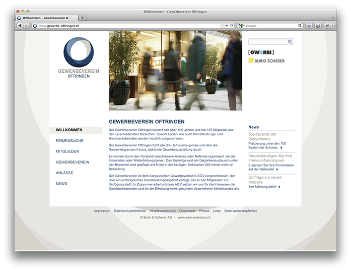Website Gewerbeverein Oftringen
